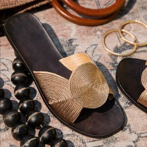 Freyja Rose Gold Woven Casual Sandals
